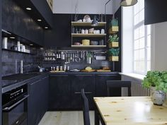 Elegant and beautiful kitchen design with black color.