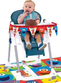 Seat your little Muppet in style with a 1st Birthday Elmo High Chair Decorating Kit. This decorating kit includes a pennant banner and a floor mat with Sesame Street characters.