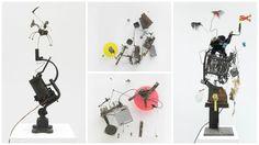 15 ramshackle, Rube Goldberg-like machines by Jean Tinguely are on display at Galerie GP & N Vallois in Paris.