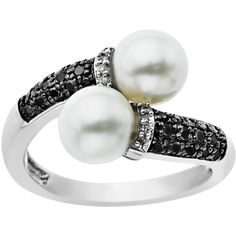 Lord & Taylor Pearl And Diamond-Accented Ring In Sterling Silver ($450) ❤ liked on Polyvore