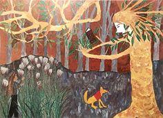 1976年頃12歳の児童が宮沢賢治のお話土神ときつねを描いたもの土神様がやさしげで狐もキュート