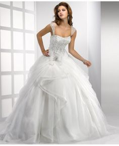 Embroidered Ball Gown Straps Chapel Trian Tulle Wedding Dress With Beading #weddingdress