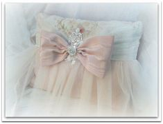 Gorgeous Romantic  Pillow in Pearl Pink Moire and Iridescent Ivory Tulle & Muted Floral Print with a lovely Bow and Rhinestone Brooch!