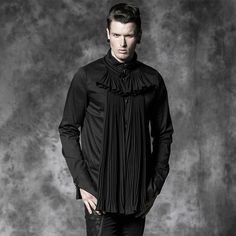 Cheap gothic men, Buy Quality punk shirt men directly from China rave shirt Suppliers: Gorgeous fold gothic Mens Shirt Punk Rave Black Cool Kera Top with jabot ruffles Y472