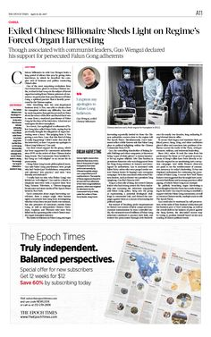 Exiled Chinese Billionaire Sheds Light on Regime's Forced Organ Harvesting The Epoch Times #newspaper #editorialdesign