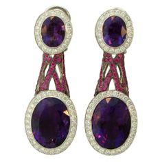 ASPREY  Diamond  Amethyst Sapphire Earrings