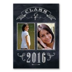 Delicate chalkboard sketches along with your graduation photos and details make this the perfect announcement to send to family and friends.
