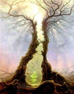 Tree of Life Art :: dark-fantasy-Tomasz-Alen-Kopera Fantasy World, Dark Fantasy, Art Visionnaire, Eternal Return, Visionary Art, Fantasy Landscape, Fantasy Artwork, Tree Art, Concept Art