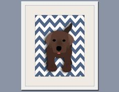 Dog art print chevron baby nursery art for children by Wallfry. $22.00, via Etsy.