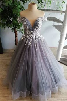 Gray Tulle Off Shoulder Long Lace Applique Senior Prom Dress, Open Back Party Dress on Luulla Grey Prom Dress, Tulle Prom Dress, Tulle Lace, Long Formal Gowns, Formal Evening Dresses, Senior Prom Dresses, Prom Gowns, Party Dresses, Bridesmaid Dresses