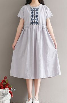 Women loose fitting over plus size retro flower embroidered dress tunic pregnant #Unbranded #dress #Casual