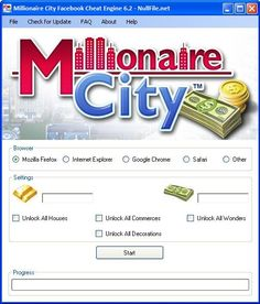 Your searched Milionaire City Facebook Cheat Engine: working on iOS and Android. The Milionaire City Facebook Cheat Engine can be activated from Windows and Mac computers.