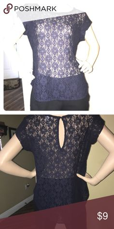 Navy Blue all lace blouse - Sz M Add a cami under it and it's perfect for work or play.  Button closure at back neckline. stylus Tops Blouses