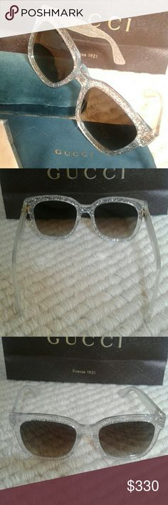 cff7713ab98 Never used 2017 Gucci sunglasses. Model These are amazing silver glitter  acetate frames. Model also available in sparkeling glitter red.