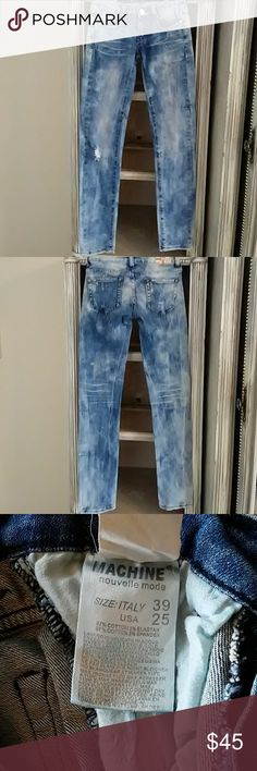 Machine Acid Washed Distressed Jeans Awesome Machine acid washed distressed jeans. Size 25 Inseam 32 Condition good machine Jeans