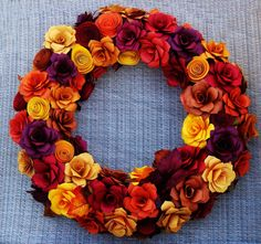 9 best paper flower wreaths images on pinterest paper flower fall wreath fall 15 inches in fall rustic colors year round delight paper flower mightylinksfo