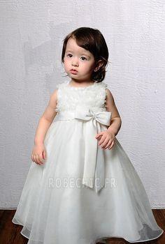Robe Cortège Fille Automne Nœud à Boucles Empire Princesse Couvert de Tulle
