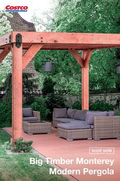 The Monterey pergola presents a stunning modern structure that will bring friends together to catch up or to get cozy with a good book. Worry-free delivery and on-site installation are included so you can let the stress melt away. Shop for more patio, lawn and garden items at Costco.com.