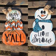 Make your entrance super cute this fall and Christmas with our reversible pumpkin / snowman door hangers! The door hanger is custom cut wood and is 21 inches high! This is hand drawn and complete Thanksgiving Crafts, Fall Crafts, Halloween Crafts, Holiday Crafts, Holiday Fun, Fall Halloween, Christmas Crafts, Xmas, Fall Craft Fairs