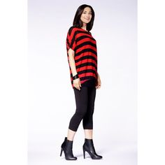 Striped Sleeve Top in Black & Red