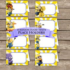 Minion Food Tents! Place Holders! Digital Download!  Despicable me Birthday Party!
