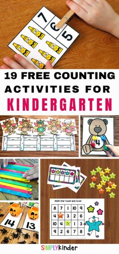 Are you looking for free printable numbers and counting activities for kindergarten? We've got 19 different hands on activities that will get your students counting. Includes count and clip cards, counting games, and worksheets. We've also got resources to help you count to 100 and practice skip counting. Click through to see all our free resources. Fun Math Games, Counting Activities, Hands On Activities, Space Activities, Number Activities, Numbers Kindergarten, Learning Numbers, Kindergarten Activities, Preschool