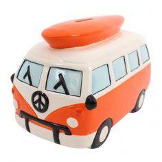 Wholesale Large orange campervan moneybox - Something Different
