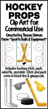 Hockey Sports Equipment Clip Art Graphics for Commercial Use