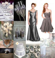 Silvery Grey Wedding Inspiration Moodboard