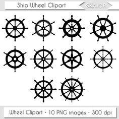 Ship Wheel Clipart Helm Clipart Vector Wheel Clip Art Nautical Clipart Steampunk Digital Scrapbooking Invitations Logo Silhouette Sea Boat