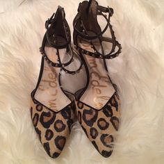 Sam Edelman Faux Leopard Heels Size: 6; zips up in the back with strappy stud and faux leopard fur; worn twice! Sam Edelman Shoes Heels
