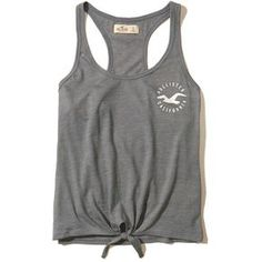 Hollister Tie-Front Graphic Tank ($8.48) ❤ liked on Polyvore featuring tops, grey, racerback tank top, racer back tank tops, graphic tops, grey top and gray racerback tank