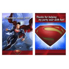 Superman Invitations & Thank You Notes come together in a set for super-simple party planning. Superman Invitations & Thank You Notes have everything for 8 guests, including envelopes! Superman Party, Superman Birthday, Boy Birthday, Thank You Postcards, Thank You Notes, Thank You Cards, Superman Invitations, Birthday Invitations