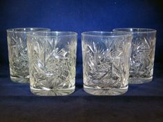 Set of 4 Vintage Pinwheel Cut Crystal Old Fashioned Whisky Glass Tumblers