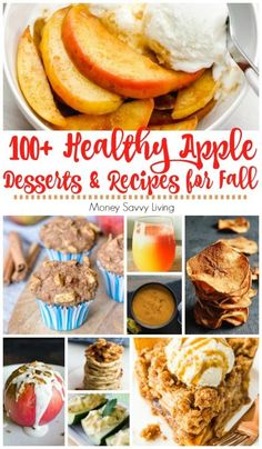 Looking for some yummy apple desserts and recipes to make this fall? Here are 101 tasty and healthy apple desserts and recipes for you to try this fall. Healthy Apple Desserts, Apple Dessert Recipes, Easy Desserts, Healthy Recipes, Desserts For A Crowd, Healthy Deserts, Summer Desserts, Christmas Desserts, Healthy Baking