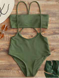 Bandeau Top And High Waisted Slip Bikini Bottoms Army Green M - Bikini Bottom - Ideas of Bikini Bottom Swimwear Model, Swimwear Sale, Swimwear Brands, Swimwear Fashion, Green Swimsuit, Bikini Swimsuit, Bandeau Bikini, Bikini Outfits, Cute Bathing Suits