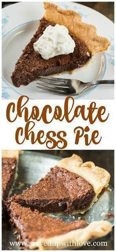 Chocolate Chess Pie recipe at Served Up With Love. The traditional chess pie becomes a chocoholics dream in this Chocolate Chess Pie. #chocolate #pie #dessert #easy #recipes