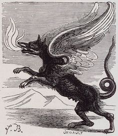Griffin from Dictionnaire Infernal (Infernal Dictionary), an A-Z on demonology and the occult from France. Evil Demons, Angels And Demons, Fallen Angels, Summoning Demons, Magical Creatures, Fantasy Creatures, Underworld Characters, Demon Wolf, Gravure