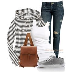 """Old Navy Striped Hoodie & Sneakers"" by casuality on Polyvore"