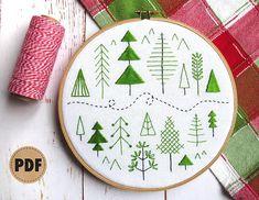 Beginner Embroidery Pattern Forest Scandinavian Modern Folk