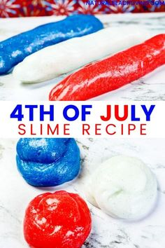 White Slime, Blue Slime, Summer Camp Activities, Science Activities, Slime With Contact Solution, Easy Slime Recipe, Discovery Bottles, Summer Science, Blue Food Coloring