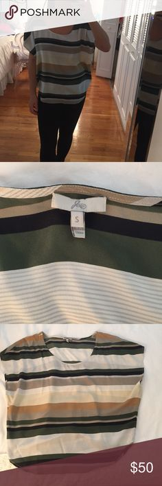 Joie Silk Drapey top Joie loose fitting top.  Tan, black and dark green stripes.  Wide neck line.  Worn once! Size Small. Joie Tops Blouses