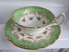 Royal Doulton bright green tea cup & saucer, rose cup saucer, pink rose gold gilt cup and saucer, bone china cup saucer.