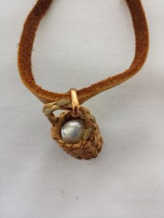 "Pearl in a Basket Necklace with Leather Cord 18"" in a Woven Basket Pendant #Handmade #Pendant"
