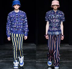 Walter Van Beirendonck 2014-2015 Fall Autumn Winter Mens Runway Looks Fashion - Paris Fashion Week Mode à Paris Masculine Défilés - Ski Leggings Tribal Ethnic Ornamental Parka Coat Rainwear Oversized Belt Strapped Suit Blazer Hypnotic Stripes Bucket Helmet Furry Knit Leather Bomber Jacket Turtleneck Scarf Androgyny Ruffles Embroidery Emblem