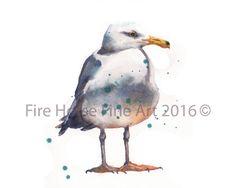 ORIGINAL Watercolour Seagull Painting £65.00 #Folksy.com #folksy #original #watercolour #watercolor #seagull #yellowleg #gull #bird #painting #art #nautical #shorebird 'ocean #coastal #beach #house #décor #cape #cod #animal #wildlife #Welsh #artist #British #contemporary #AlisonFennell #FireHorseFineArt