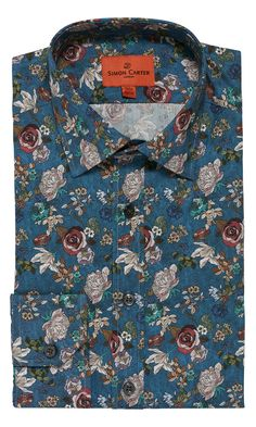 A nostalgic vision of forgotten flowers on a rich dusky blue ground with a single button cuff and intelligent tailored regular fit. Simon Carter, Flower Shirt, Stylish Shirts, Summer Suits, Collar Styles, Work Wardrobe, Summer Looks, Well Dressed, African Fashion