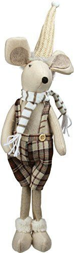 Felices Pascuas Collection 17 inch Standing Boy Mouse in Plaid Dress Christmas Table Top Figure