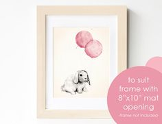 Baby Girl Nursery Print 8x10, Rose Pink Shabby Chic Nursery Decor, Watercolour Illustration of Bunny Rabbit and Balloons