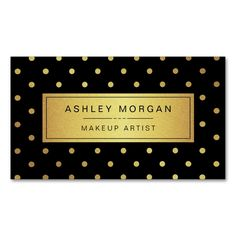 Makeup Artist - Black White Gold Dots Double-Sided Standard Business Cards (Pack Of This great business card design is available for customization. All text style, colors, sizes can be modified to fit your needs. Just click the image to learn more! Beauty Business Cards, Gold Business Card, Makeup Artist Business Cards, Unique Business Cards, Business Card Design, Gold Dots, Gold Glitter, Black White Gold, Card Templates